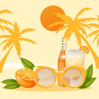 Bannière de vacances tropicales morceau d'orange et bouteille de boisson ou de jus avec des lunettes sur la plage