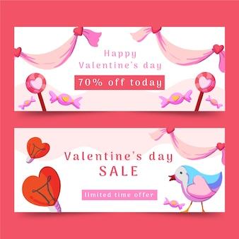 Bannière de valentine aquarelle avec oiseaux et coeurs
