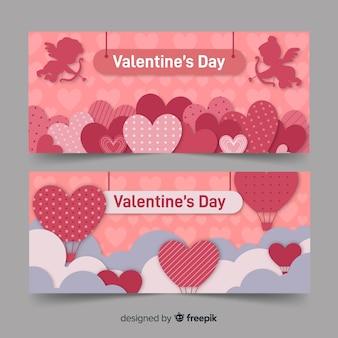 Bannière valentine coeurs et montgolfière