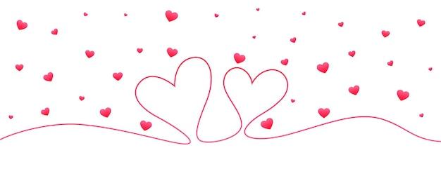 Bannière de valentine doodle coeur ligne minimale