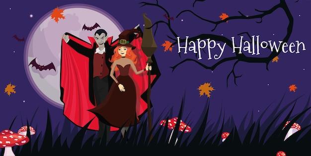 Bannière avec le vampire et la sorcière à la fête d'halloween.