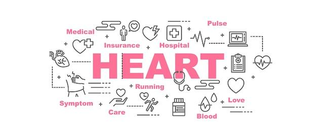 Bannière de vecteur de coeur