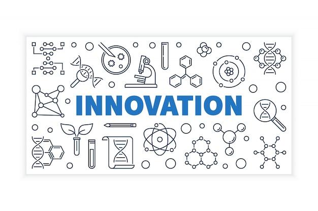 Bannière de vecteur contour innovation science.