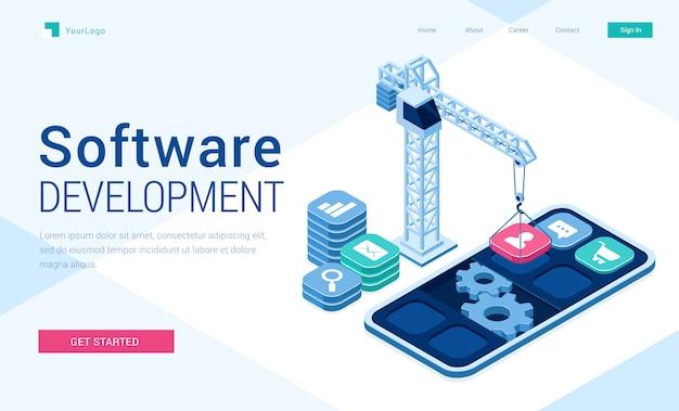 Bannière de vecteur de développement de logiciels