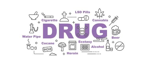 Bannière de vecteur de drogue