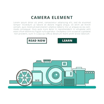 Bannière de vecteur élément caméra