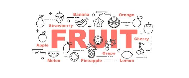 Bannière de vecteur de fruits