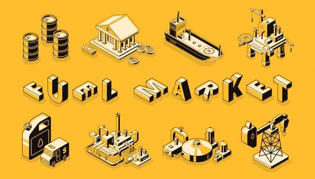 Bannière de vecteur isométrique marché marché technologies du transport du pétrole et de l'essence