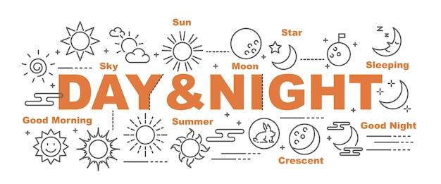 Bannière de vecteur jour et nuit