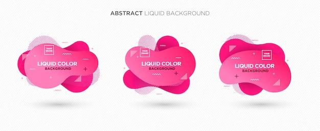 Bannière de vecteur liquide abstraite moderne définie dans des couleurs roses