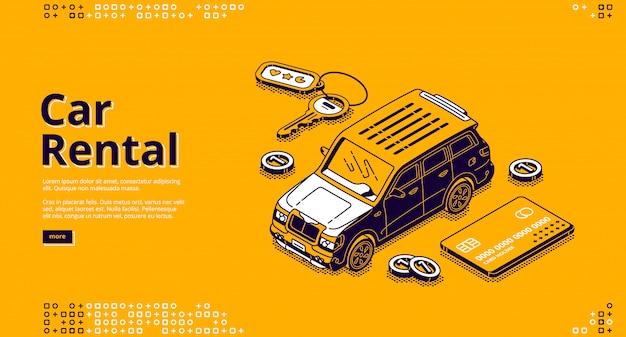 Bannière de vecteur de location de voiture