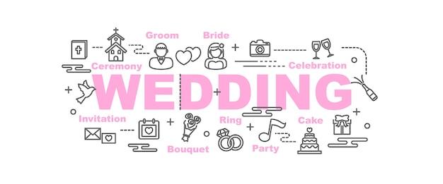 Bannière de vecteur de mariage