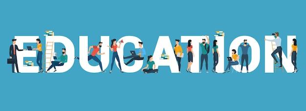 Bannière de vecteur avec le mot «éducation». en-tête de site web éducatif avec des jeunes, des étudiants, des hommes et des femmes, divers personnages et activités.