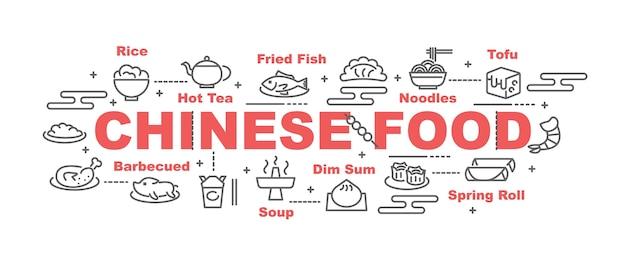 Bannière de vecteur de nourriture chinoise