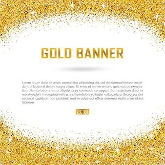 Bannière de vecteur or sur blanc