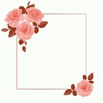 Bannière de vecteur avec une place pour le texte décoré de roses roses avec des feuilles