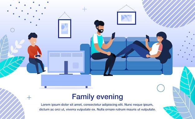 Bannière de vecteur plat de routine de soirée en famille, affiche