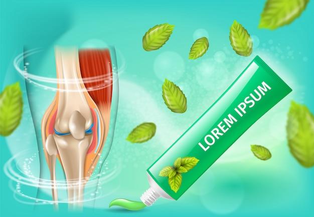 Bannière de vecteur promotionnel de crème anti-arthrite naturelle