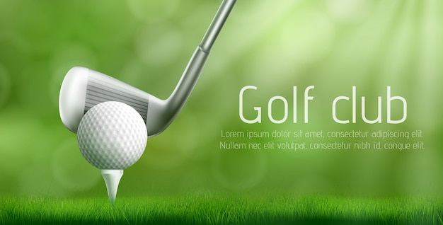 Bannière de vecteur réaliste de tournoi de club de golf