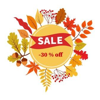 Bannière de vecteur de réduction de 30 pour cent de vente d'automne avec le feuillage