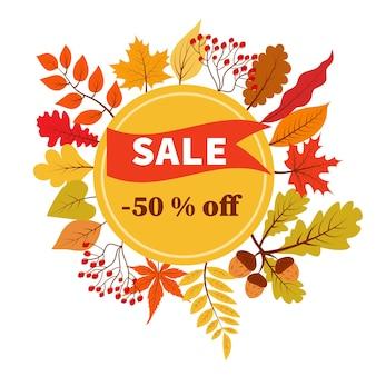 Bannière de vecteur de réduction de 50 pour cent de vente d'automne avec le feuillage