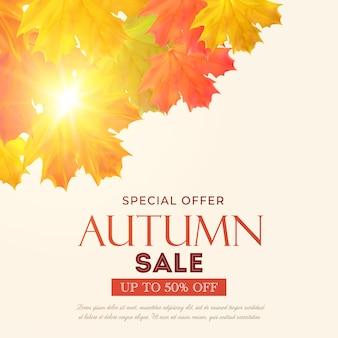 Bannière de vecteur de réduction de 50 pour cent de vente d'automne