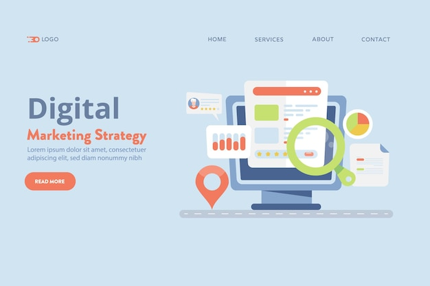 Bannière de vecteur de stratégie de marketing numérique