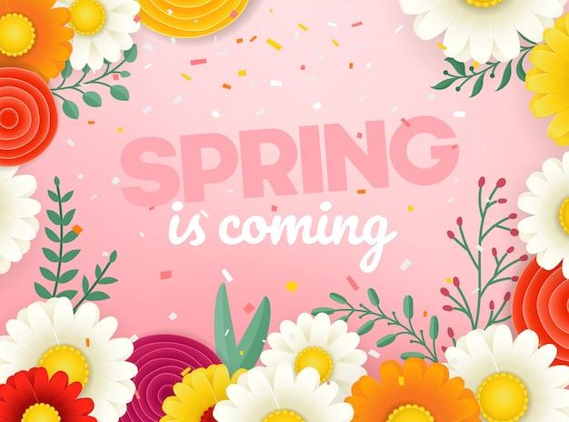 Bannière de vecteur vente printemps. illustration vectorielle photoréal avec des fleurs