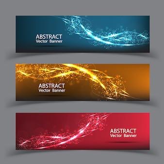 Bannière vectoriel abstrait bleu mouvement effet de lumière. composition des particules floues et a des lumières vives.