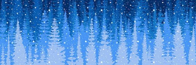 Bannière vectorielle sur un thème du nouvel an, forêt de nuit, il neige