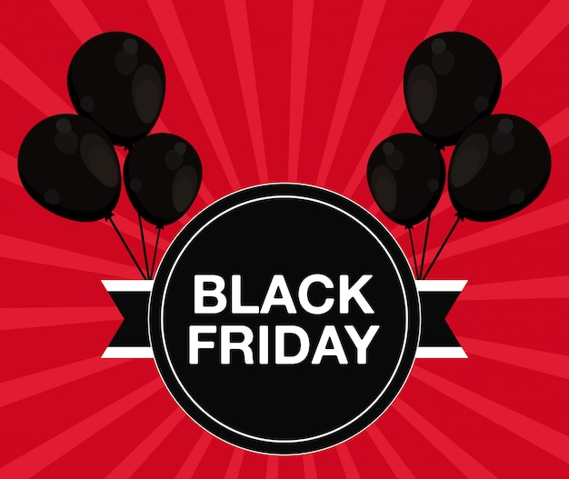 Bannière de vendredi noir avec air de ballons