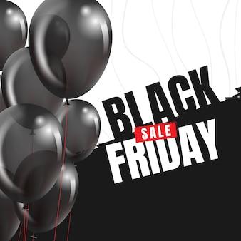 Bannière de vendredi noir avec des ballons