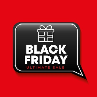Bannière de vendredi noir avec bulle de dialogue et icône de cadeau