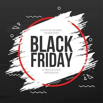 Bannière de vendredi noir avec cadre de coup de pinceau abstrait