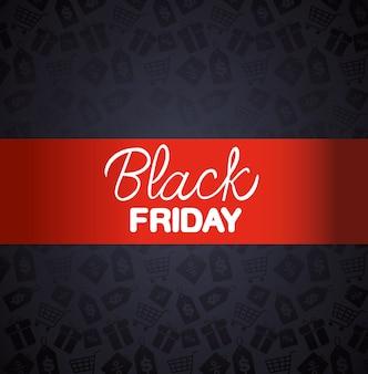 Bannière de vendredi noir avec cadre rouge