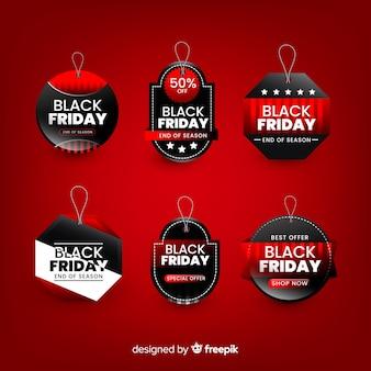 Bannière de vendredi noir avec collection de badges