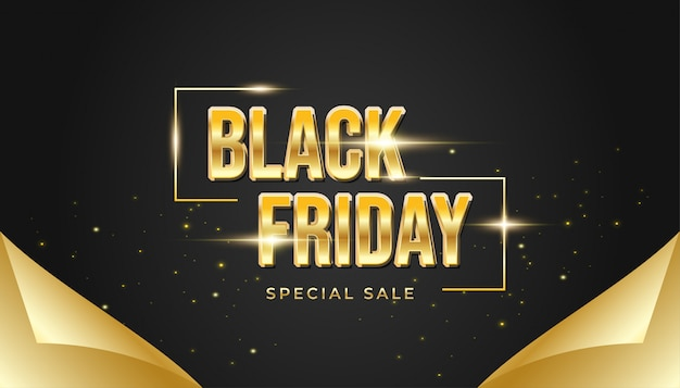 Bannière de vendredi noir avec concept de papier d'emballage ouvert en noir et or
