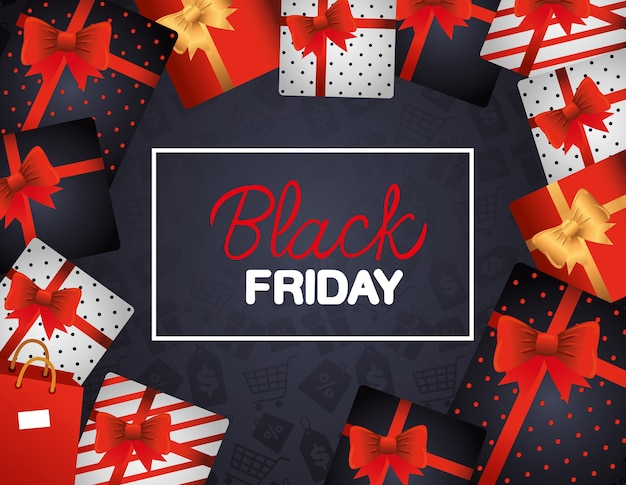 Bannière de vendredi noir dans un cadre avec des cadeaux