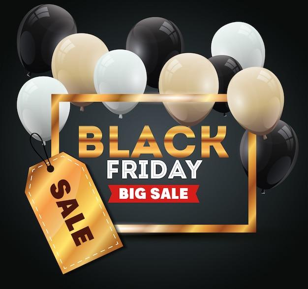 Bannière de vendredi noir avec décoration d'hélium de ballons