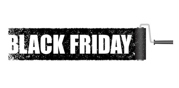 Bannière de vendredi noir avec un fond de rouleau de peinture noir isolé.