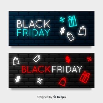 Bannière de vendredi noir néon