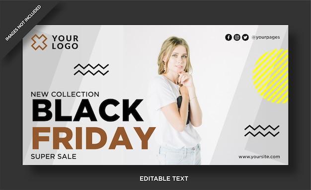 Bannière de vendredi noir et publication sur les médias sociaux