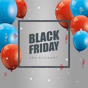 Bannière de vendredi noir et remise de cinquante avec décoration de ballons à l'hélium