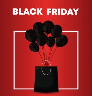 Bannière de vendredi noir avec sac shopping et air de ballons