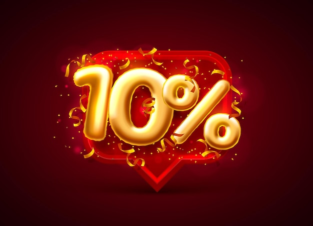 Bannière de vente 10% de rabais sur le nombre de ballons sur le rouge