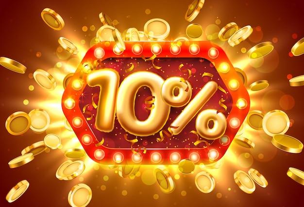 Bannière de vente 10% de réduction sur les numéros avec des pièces de monnaie volantes