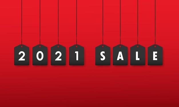 Bannière de vente 2021 ou modèle de conception de vente de noël ou étiquette de réduction.