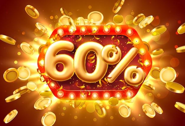 Bannière de vente 60% de réduction sur les numéros avec des pièces de monnaie volantes