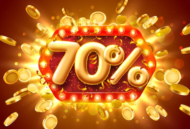 Bannière de vente 70% de réduction sur les numéros avec des pièces de monnaie volantes