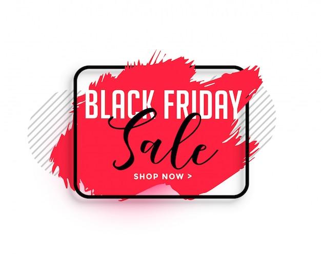 Bannière de vente abstraite aquarelle rouge vendredi noir